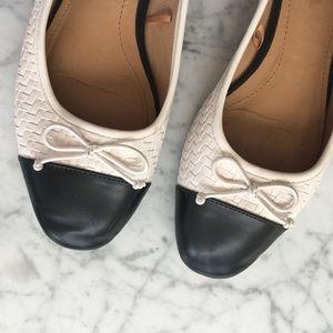 ZARA White and Black Cap Toe Ballerina Flats Sz 38
